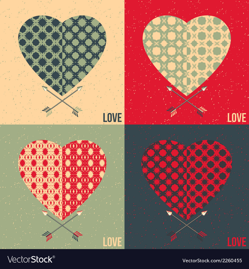 Set of 4 love cards heart and arrow vector | Price: 1 Credit (USD $1)