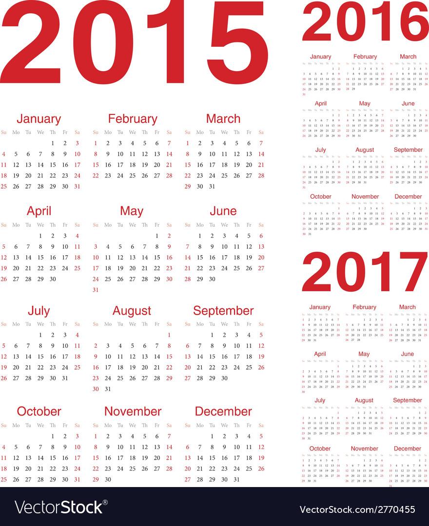 Set of european 2015 2016 2017 calendars vector | Price: 1 Credit (USD $1)
