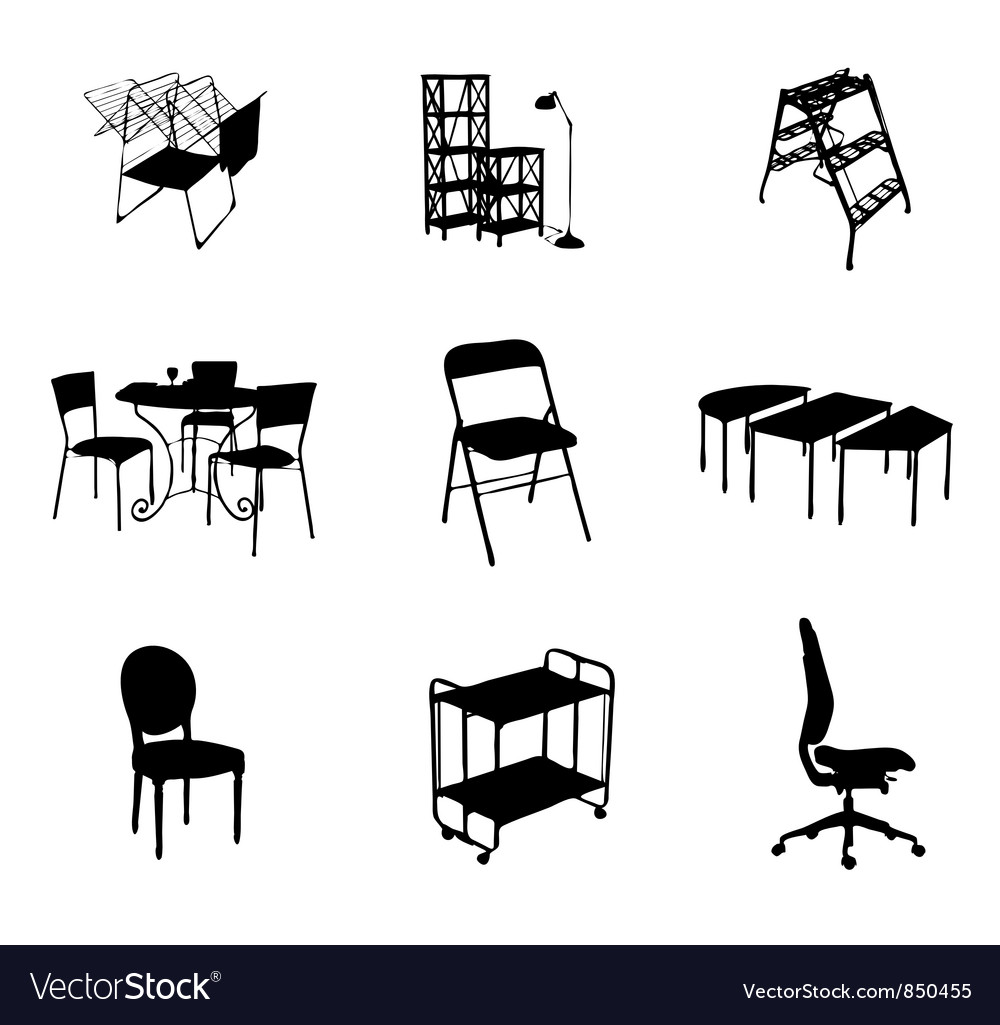 Silhouettes of furniture set black color vector | Price: 1 Credit (USD $1)