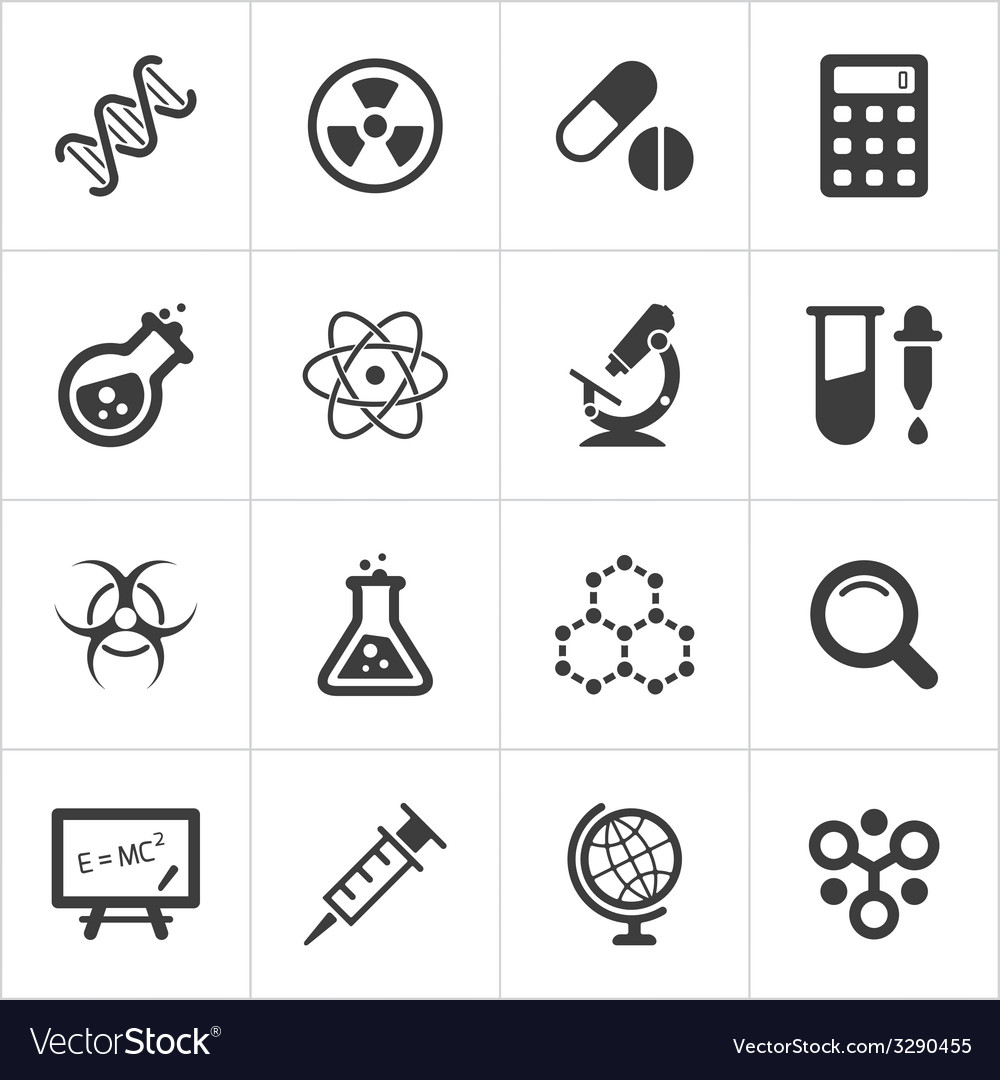 Trendy science icons on white vector | Price: 1 Credit (USD $1)
