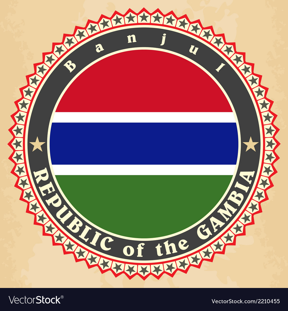 Vintage label cards of gambia flag vector | Price: 1 Credit (USD $1)