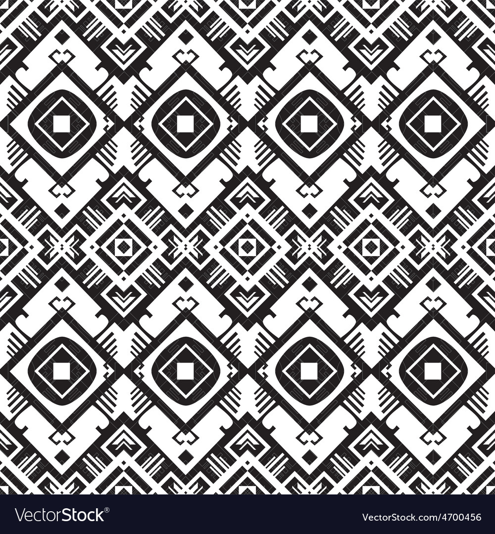 Black and white geometric seamless pattern vector | Price: 1 Credit (USD $1)
