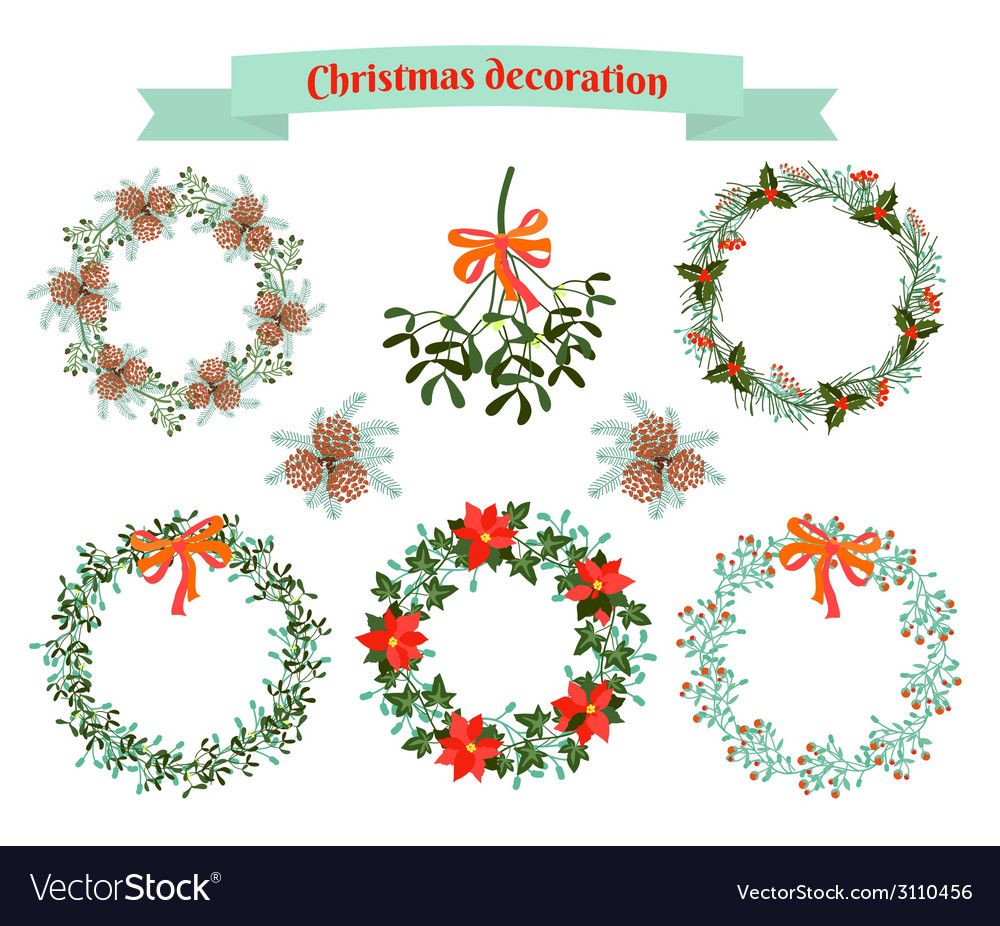 Christmas decoration  set of elements vector | Price: 1 Credit (USD $1)