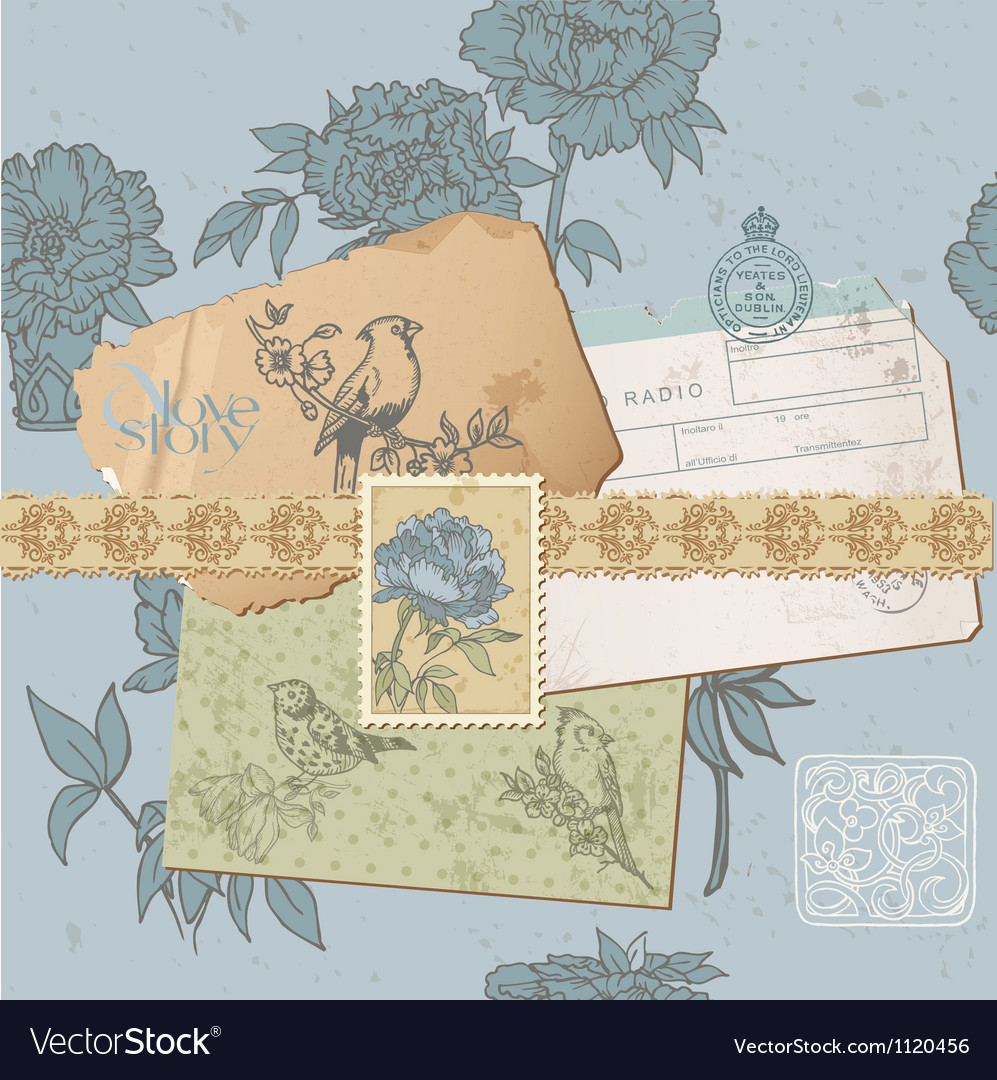 Design elements - vintage bird and peony set vector | Price: 1 Credit (USD $1)