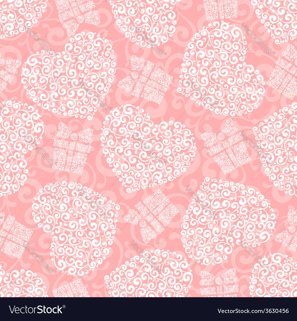Heart seamless background vector | Price: 1 Credit (USD $1)