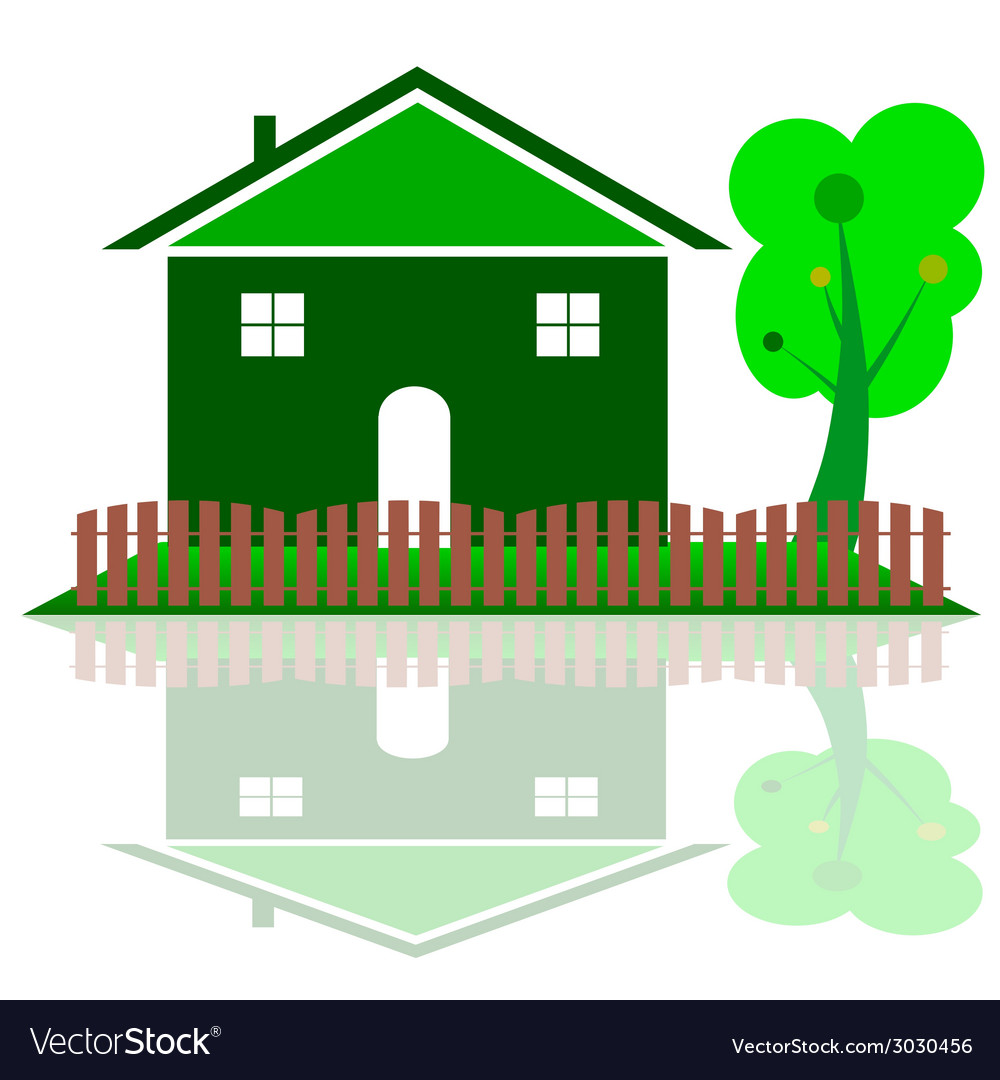 House in green color with tree vector | Price: 1 Credit (USD $1)