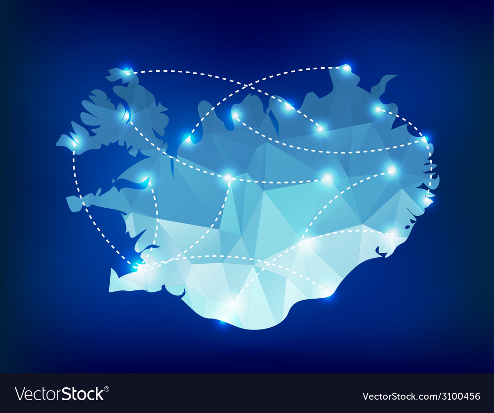 Iceland country map polygonal with spot lights pla vector | Price: 1 Credit (USD $1)