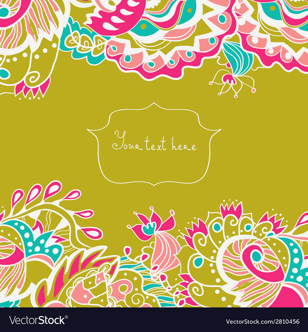 Invitation card with ornate flowers and leaves vector | Price: 1 Credit (USD $1)
