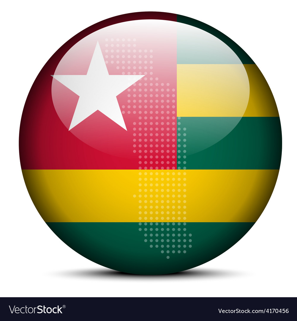 Map with dot pattern on flag button of togolese vector | Price: 1 Credit (USD $1)