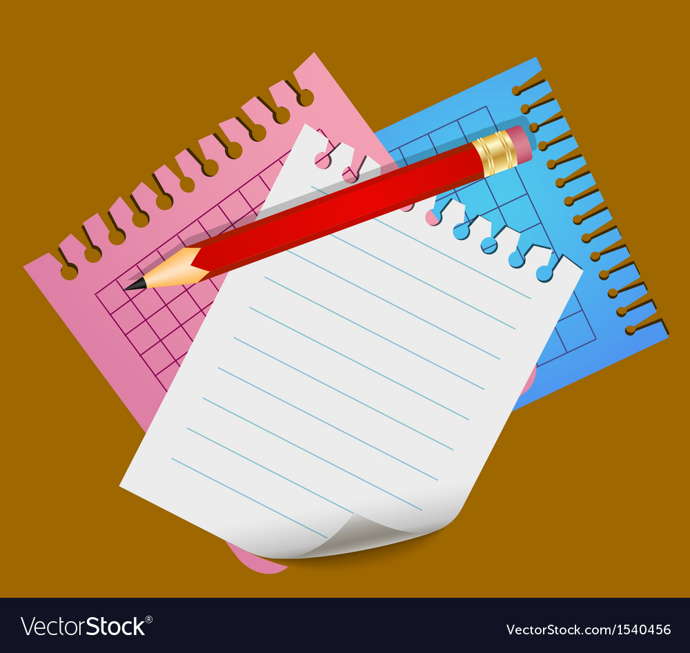 Pencil and lined note papers vector | Price: 1 Credit (USD $1)