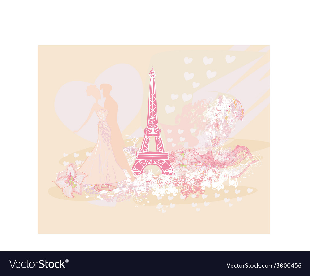 Romantic couple in paris dancing near the eiffel vector | Price: 1 Credit (USD $1)