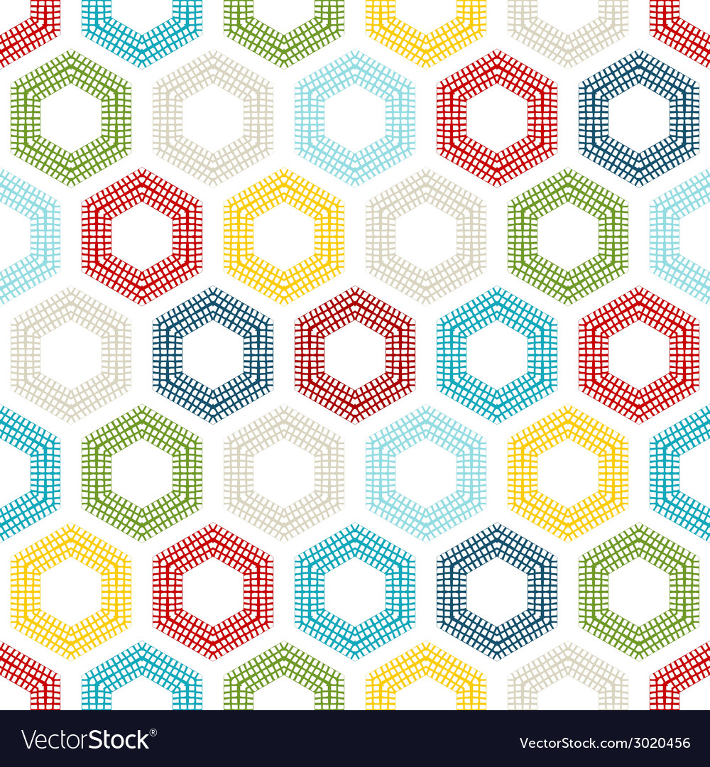 Seamless pattern of coloured hexagons vector | Price: 1 Credit (USD $1)