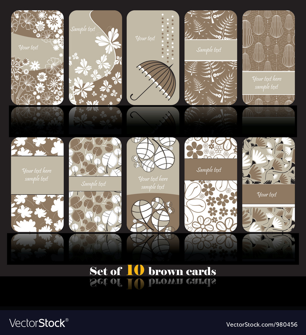 Set of ten floral card vector | Price: 1 Credit (USD $1)