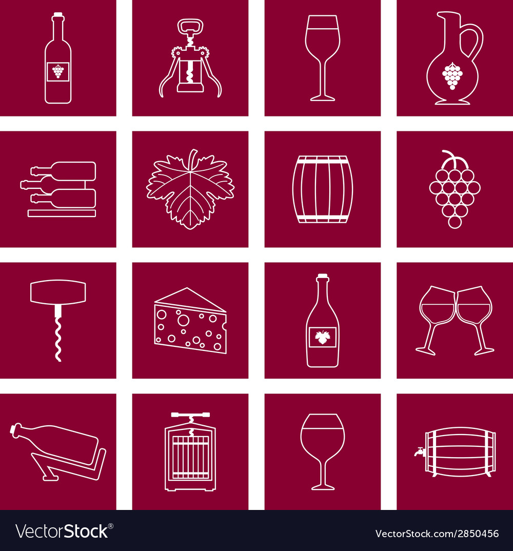 Wine icons set outline vector | Price: 1 Credit (USD $1)