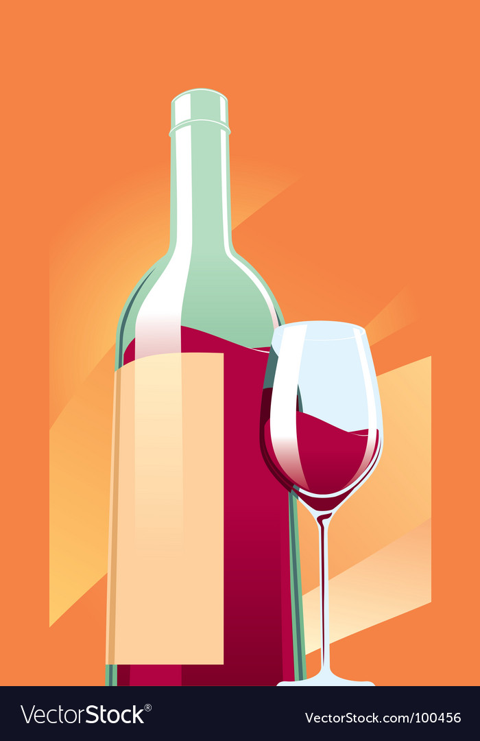 Wine with a glass vector | Price: 1 Credit (USD $1)