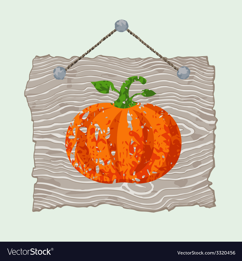 Wooden sign with pumpkin vector | Price: 1 Credit (USD $1)