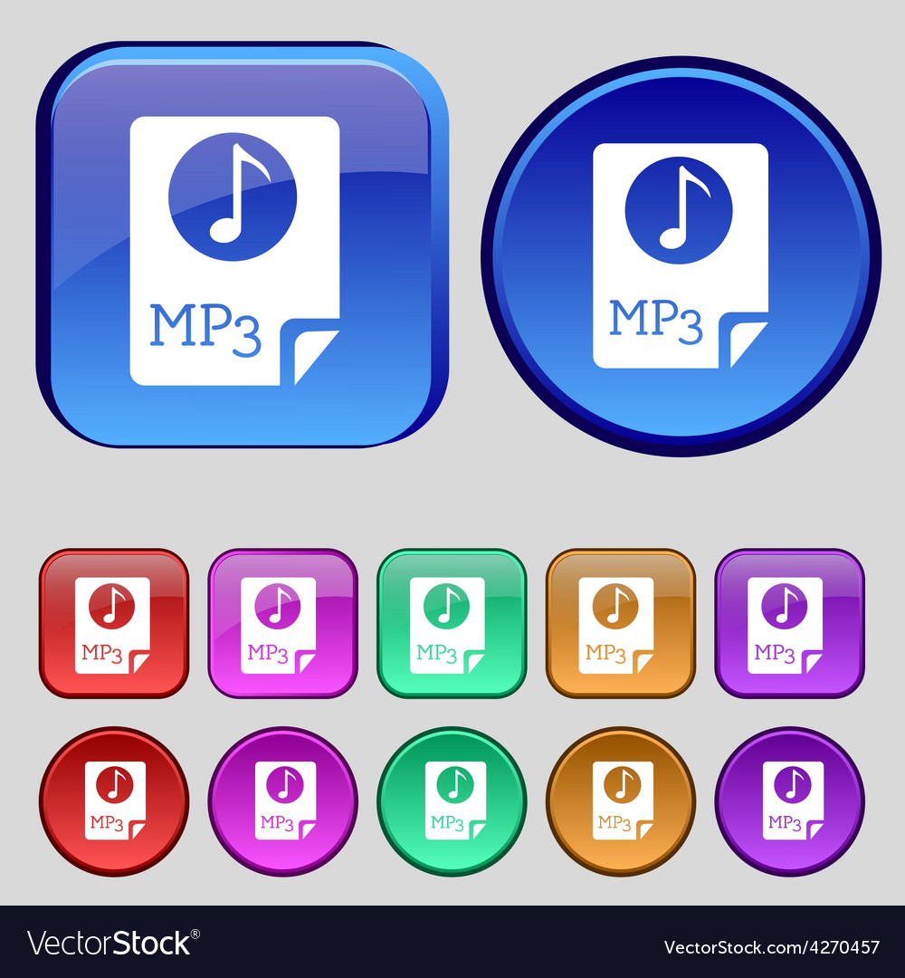 Audio mp3 file icon sign a set of twelve vintage vector | Price: 1 Credit (USD $1)