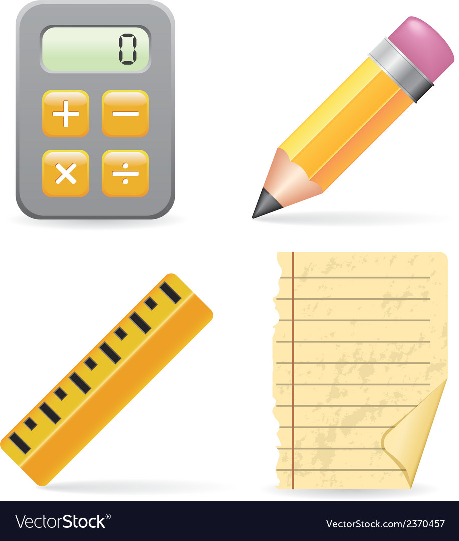 Calculator pencil ruler and paper vector | Price: 1 Credit (USD $1)