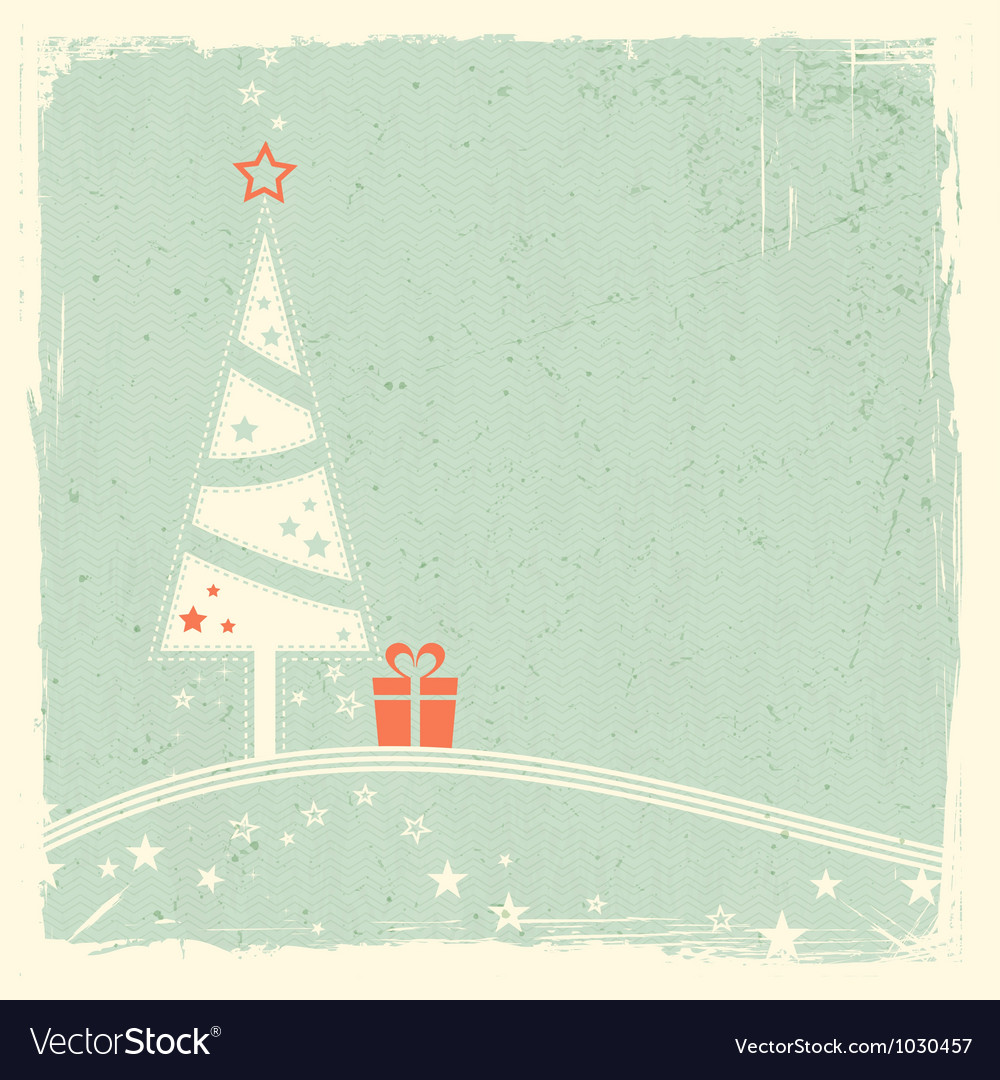 Christmas tree with present and stars vector | Price: 1 Credit (USD $1)