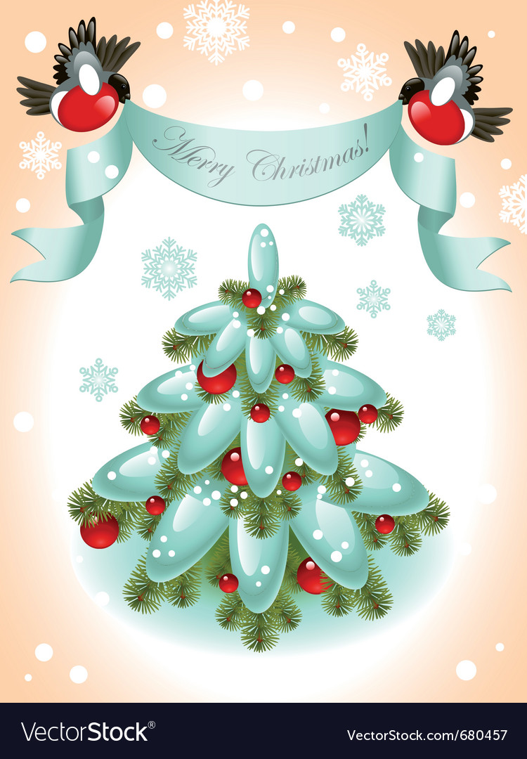 Christmas tree with red ball vector | Price: 1 Credit (USD $1)