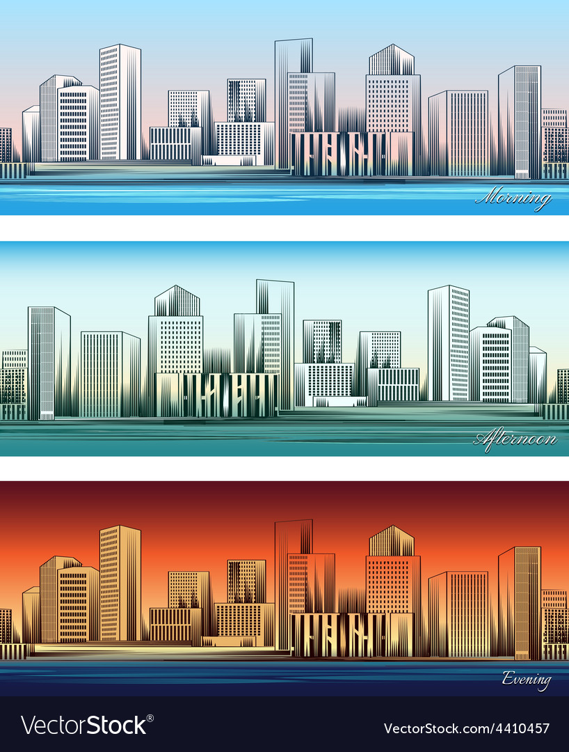 City skylines in morning afternoon and evening vector | Price: 1 Credit (USD $1)