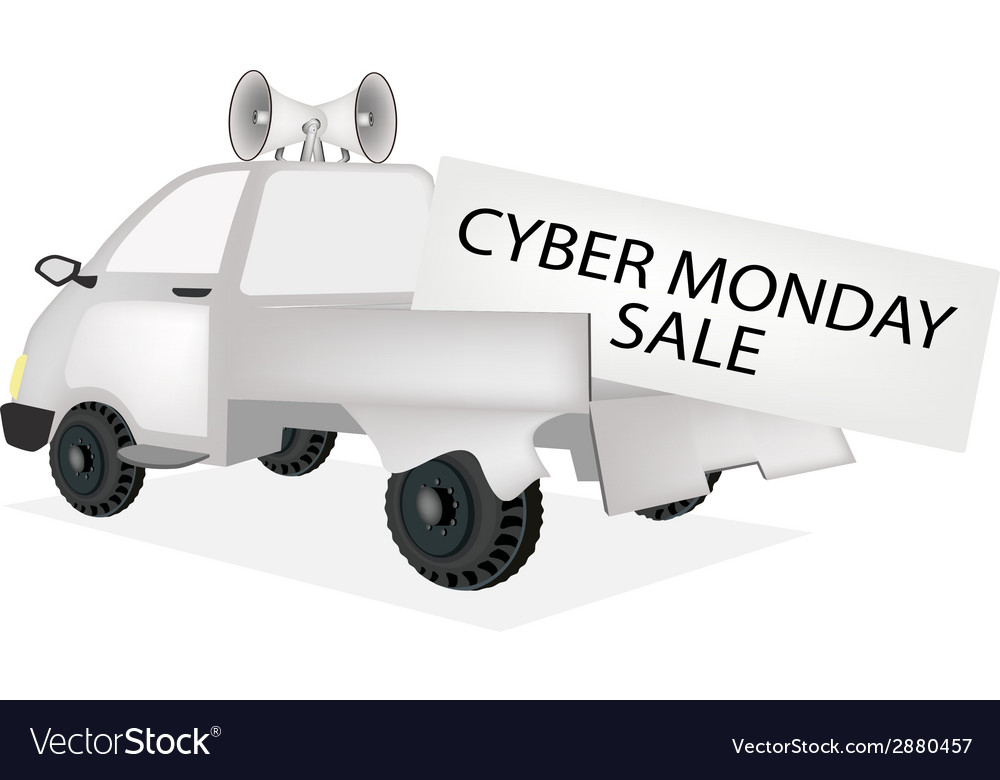 Cyber monday card on a pickup truck vector | Price: 1 Credit (USD $1)