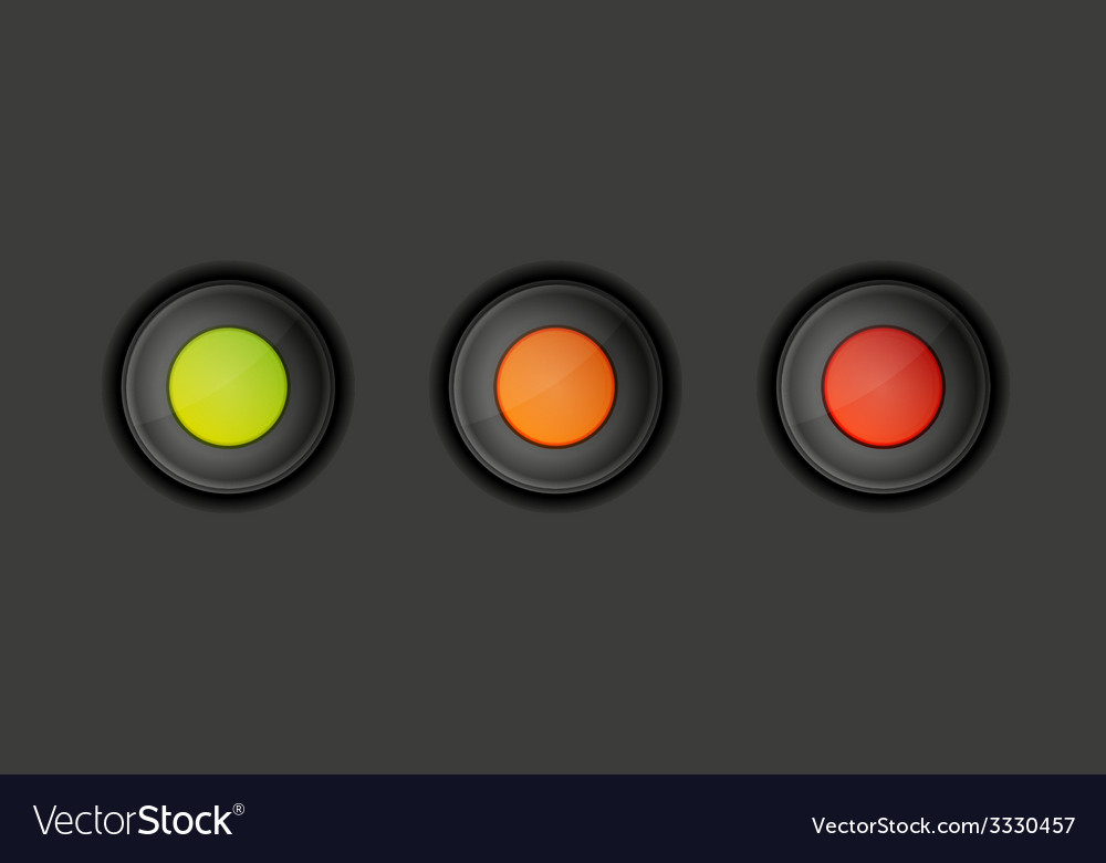 Dark buttons with green orange and red color vector | Price: 1 Credit (USD $1)
