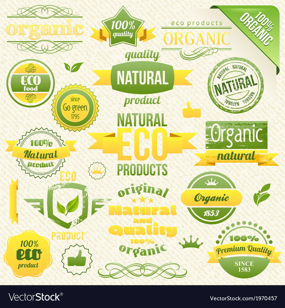 Eco bio labels and elements vector | Price: 1 Credit (USD $1)