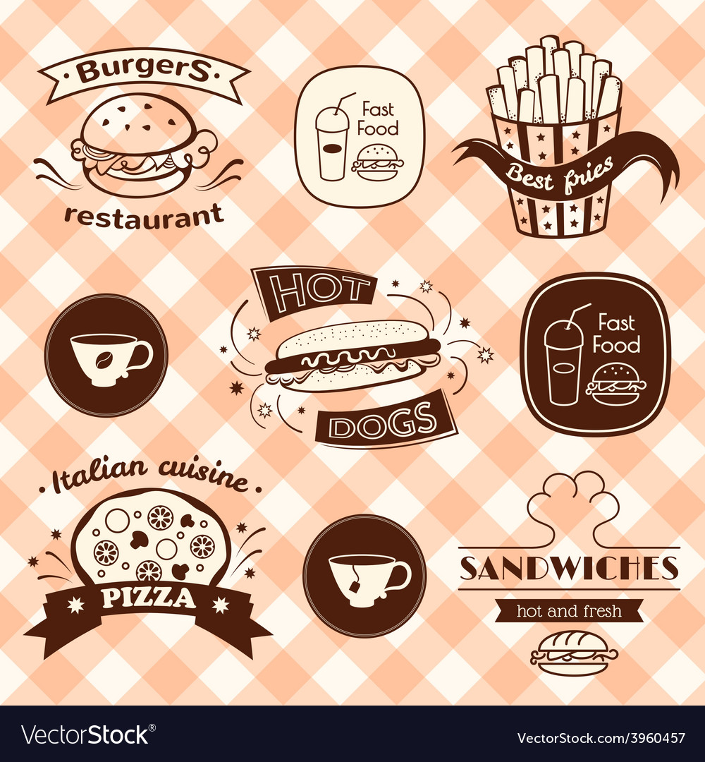 Fast food signs set vector | Price: 1 Credit (USD $1)