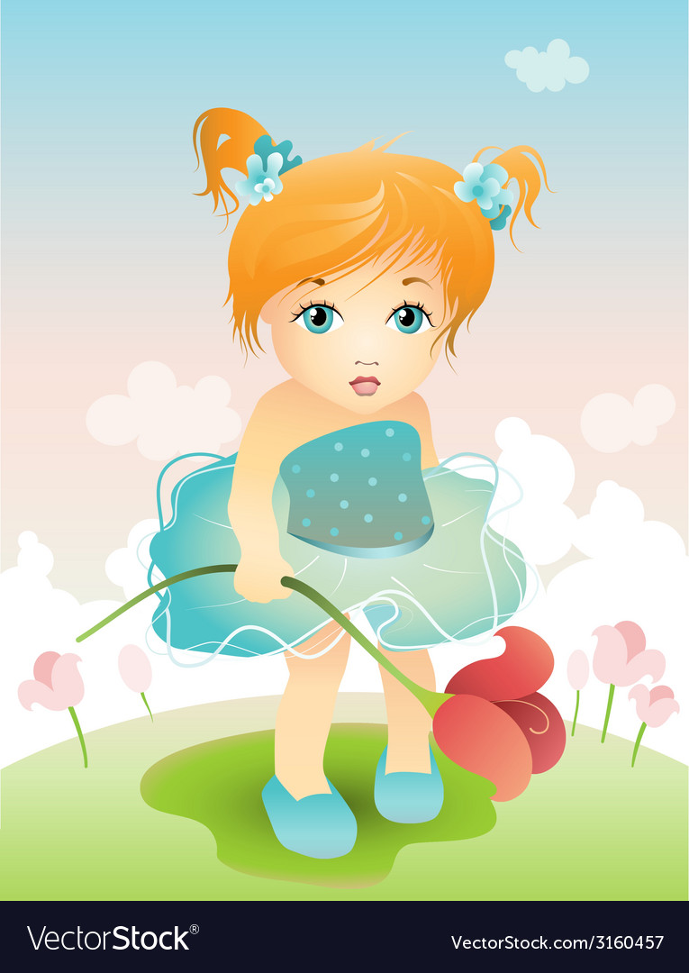Girl with tulip vector | Price: 1 Credit (USD $1)