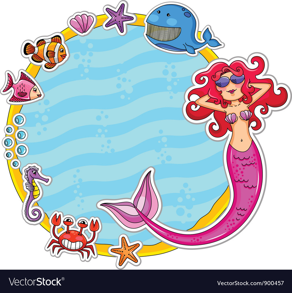 Mermaid frame vector   Price: 3 Credit (USD $3)