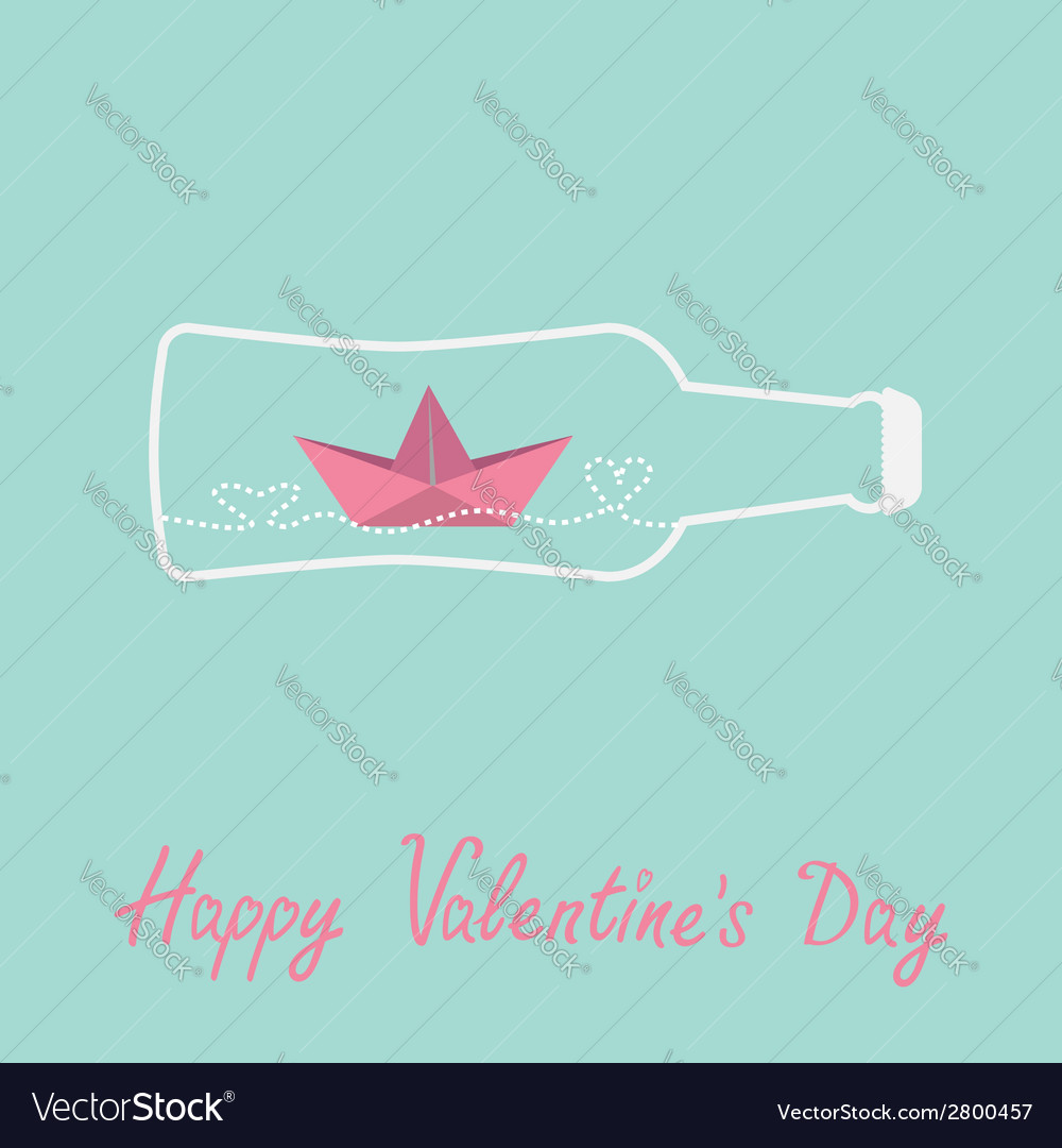 Origami paper boat and heart wave beer bottle vector | Price: 1 Credit (USD $1)