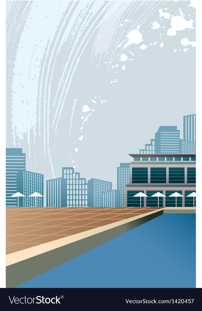Poolside city view vector | Price: 1 Credit (USD $1)