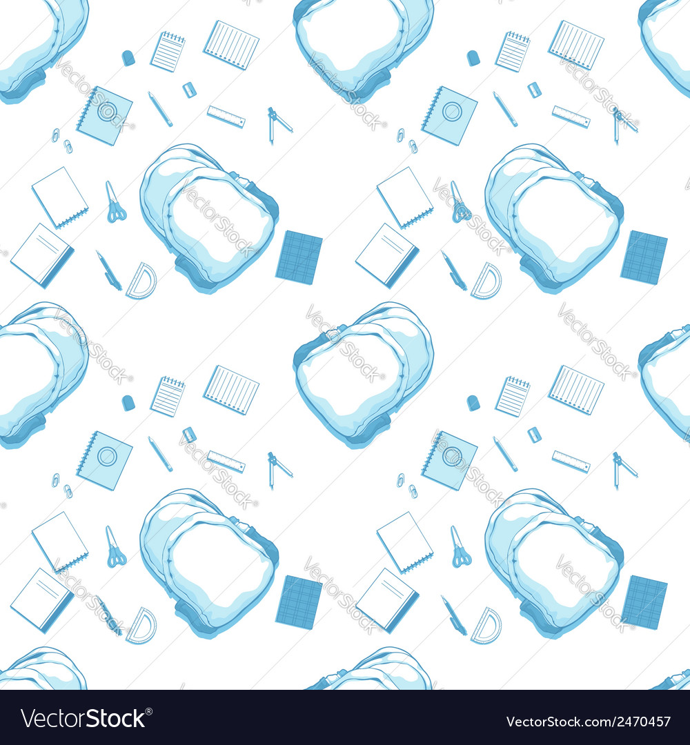 Seamless pattern of school bag and supplies vector | Price: 1 Credit (USD $1)