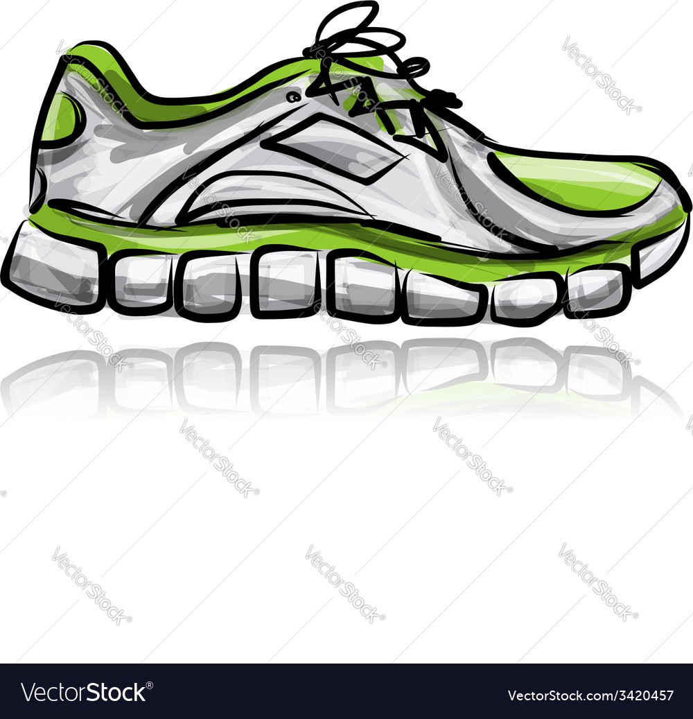 Sport sneakers sketch for your design vector | Price: 1 Credit (USD $1)