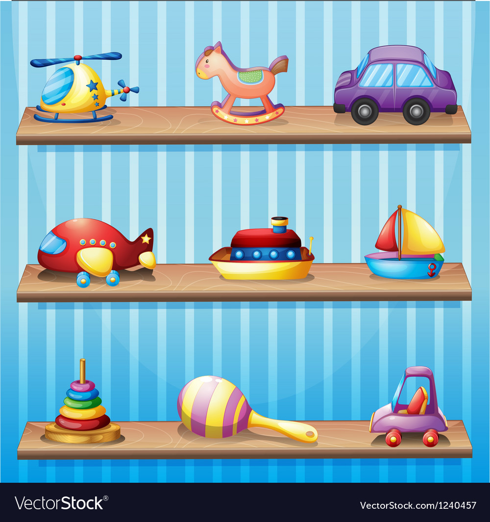 Three wooden shelves with toys vector | Price: 1 Credit (USD $1)