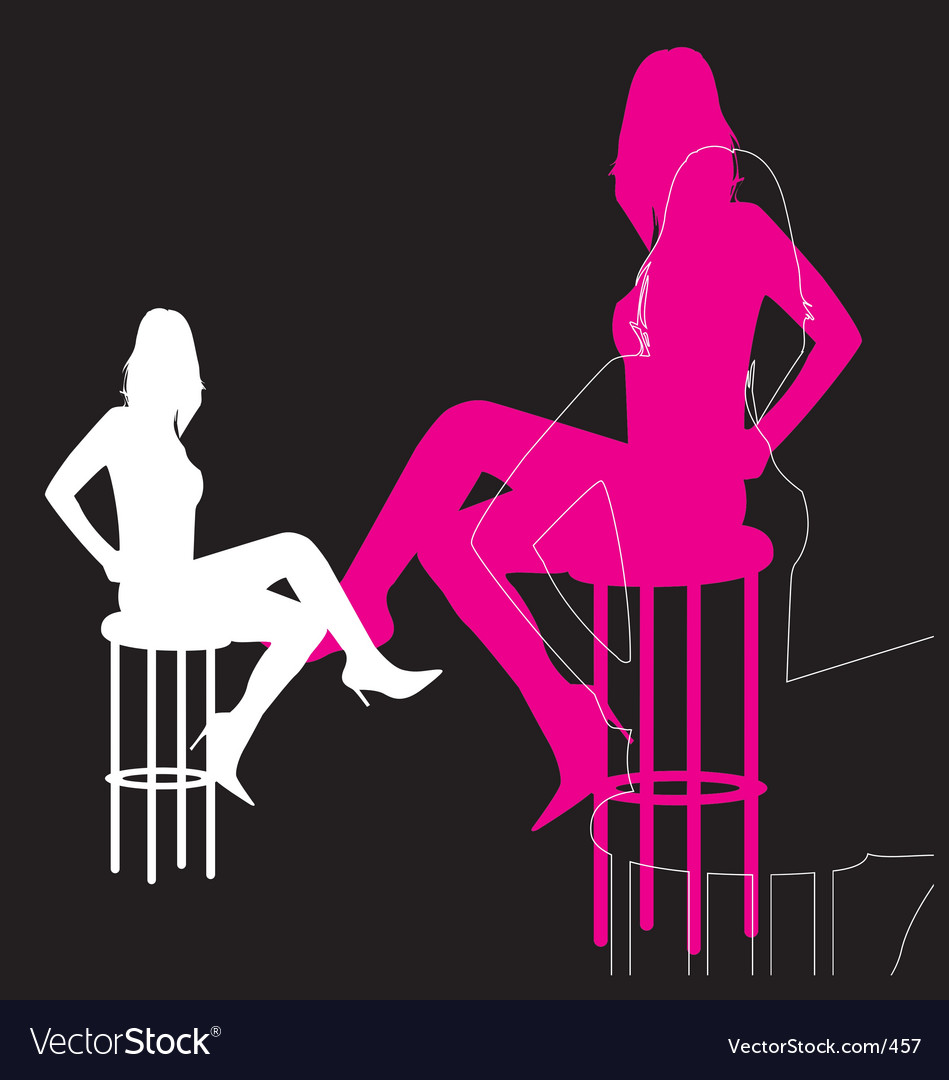 Woman silhouette on bar stool vector | Price: 1 Credit (USD $1)