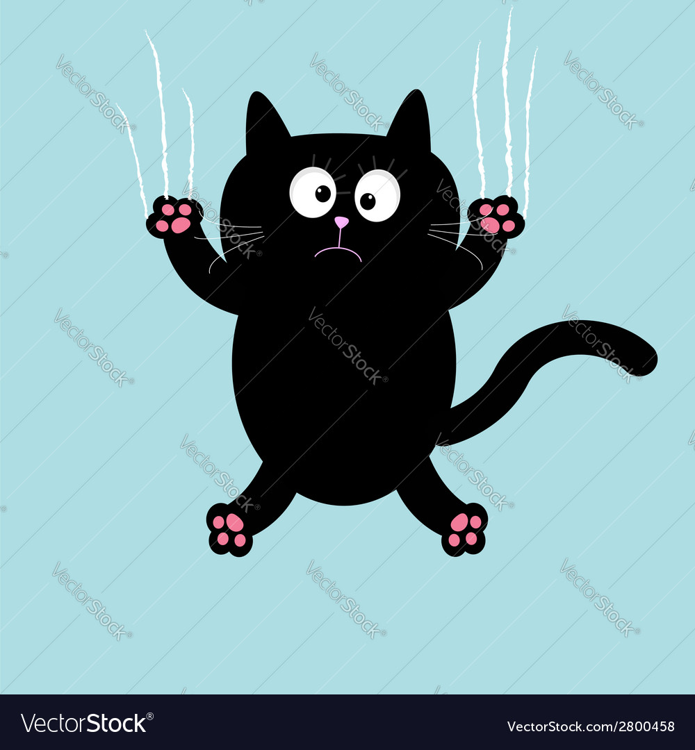 Cartoon black cat claw scratch glass background vector | Price: 1 Credit (USD $1)