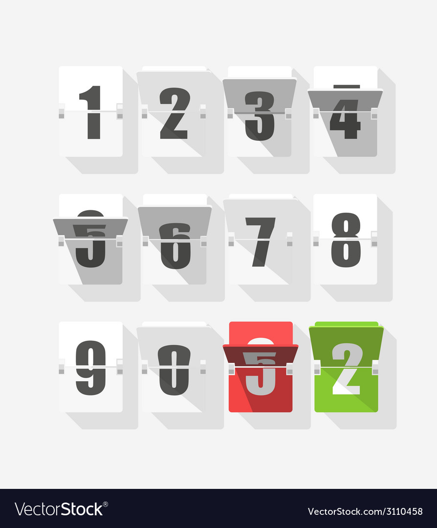 Counter with digits set flat design vector | Price: 1 Credit (USD $1)