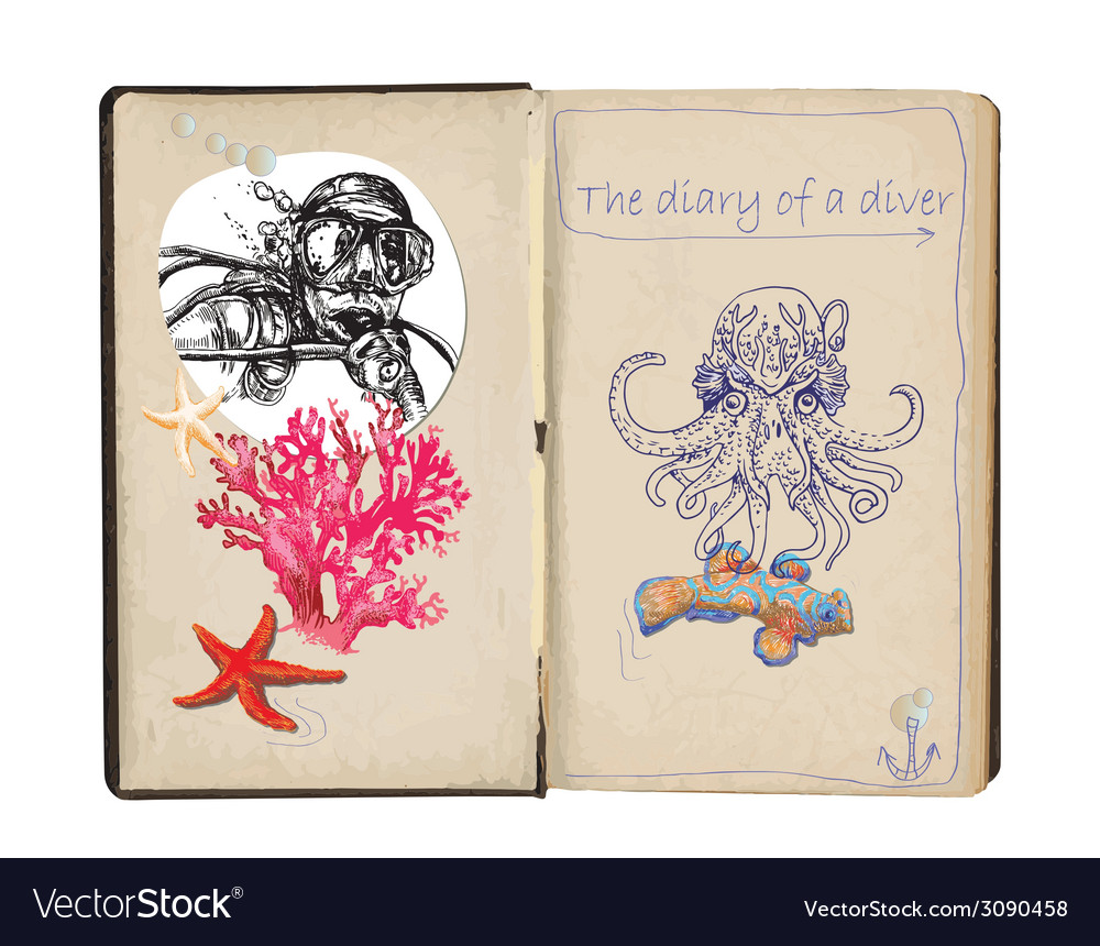Diary of diver vector | Price: 1 Credit (USD $1)