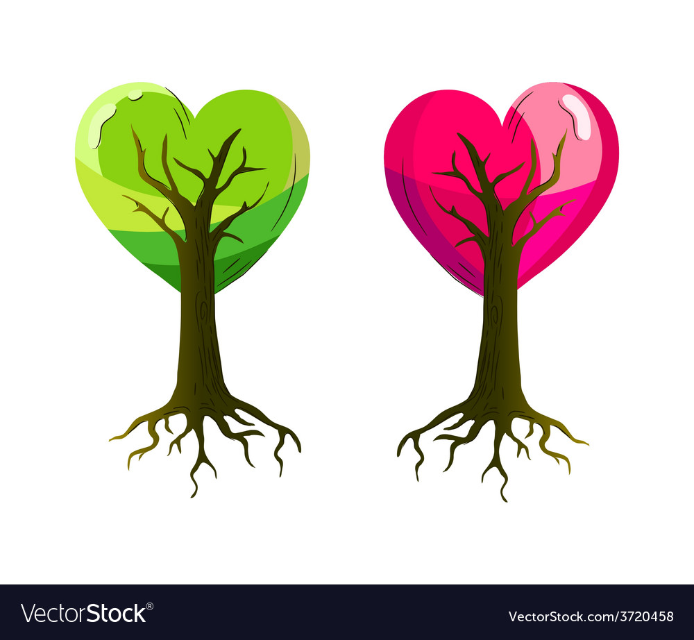 Heart trees vector | Price: 1 Credit (USD $1)