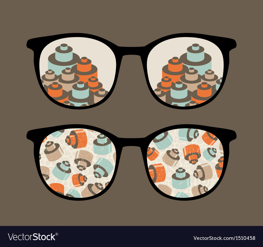 Retro sunglasses with details reflection in it vector | Price: 1 Credit (USD $1)