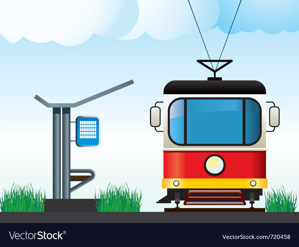 Tram on the stop vector | Price: 1 Credit (USD $1)