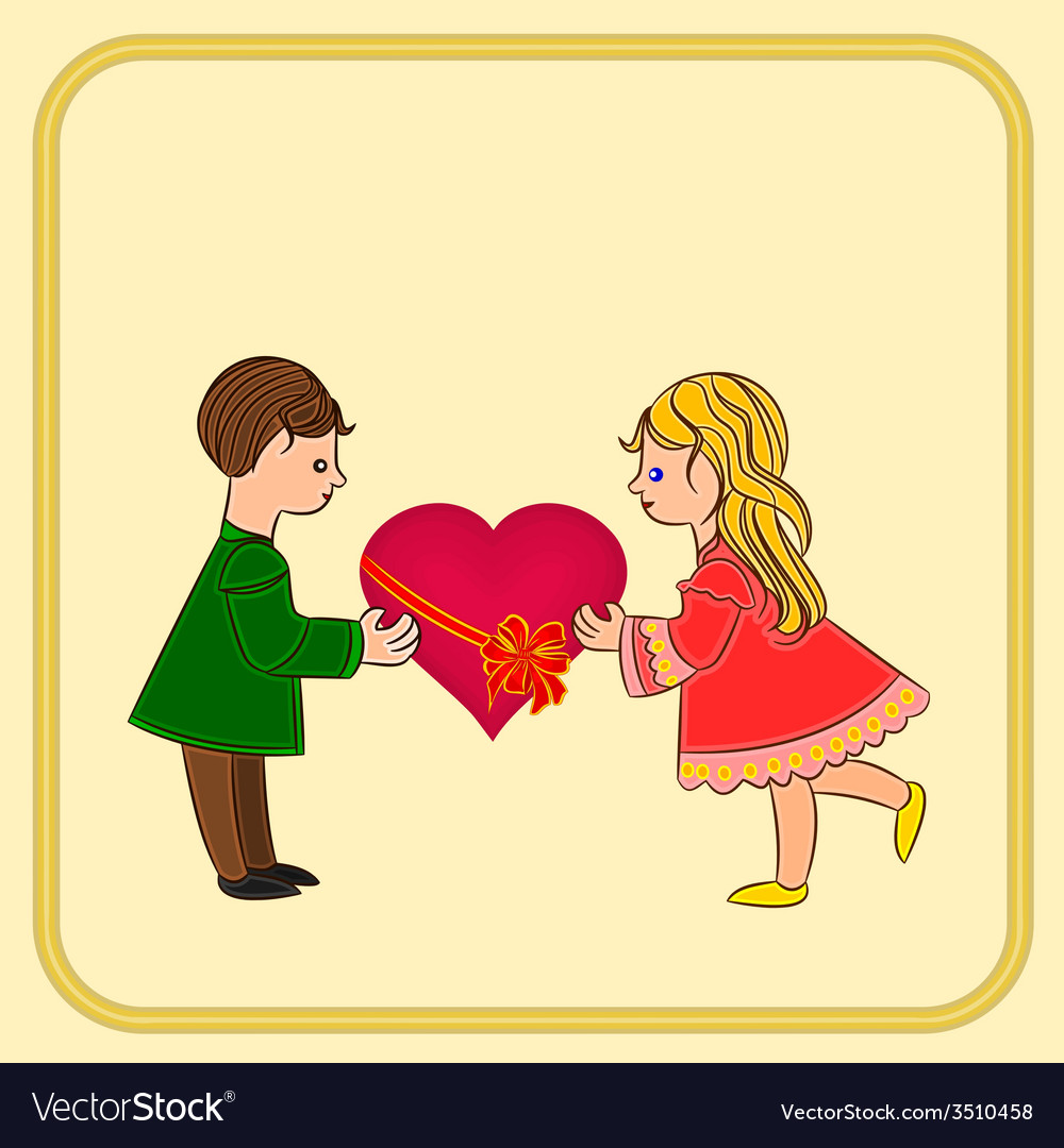 Valentines day cute figure kids and heart vector | Price: 1 Credit (USD $1)