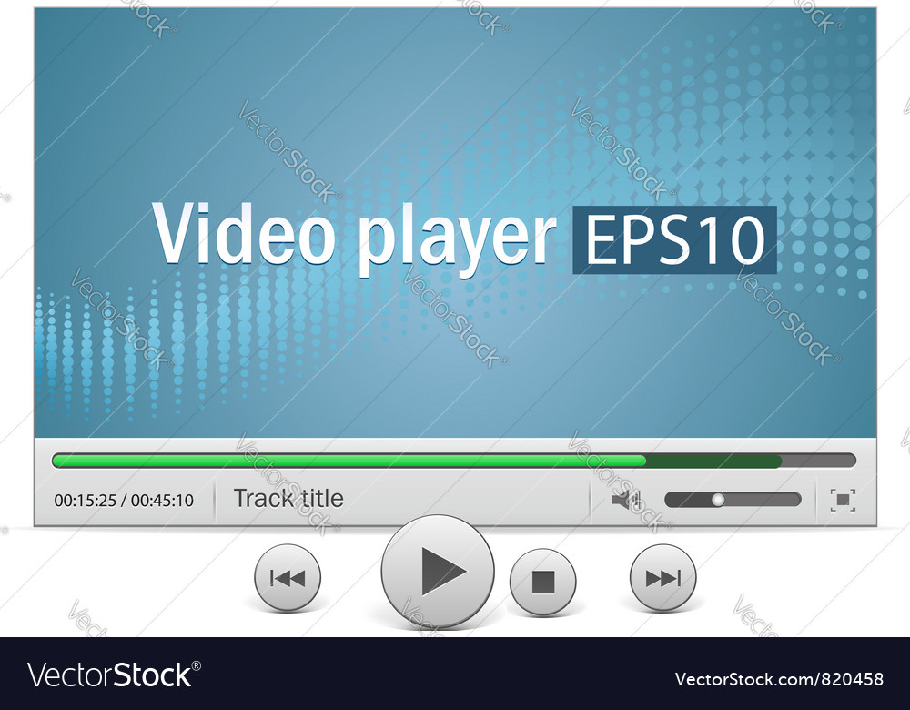 Video player with icons vector | Price: 1 Credit (USD $1)