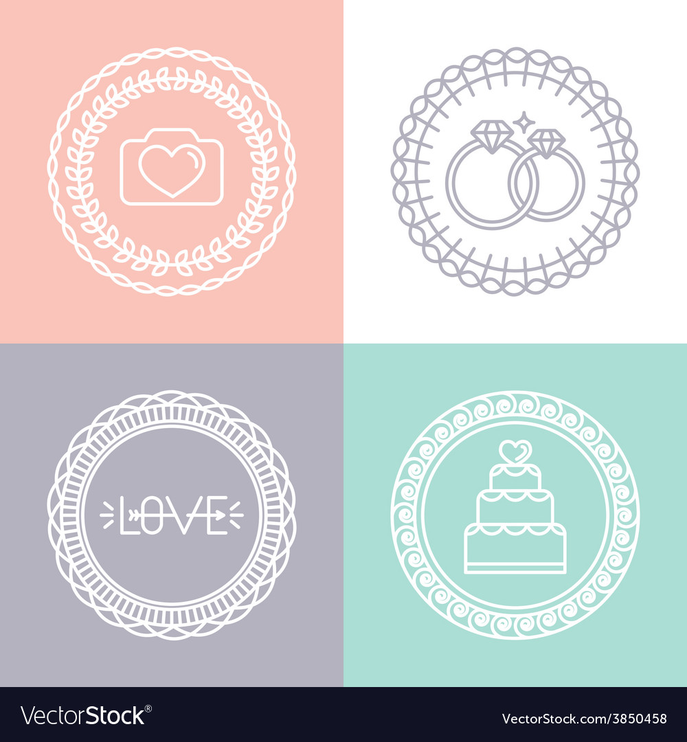 Wedding and engagement line logos vector | Price: 1 Credit (USD $1)