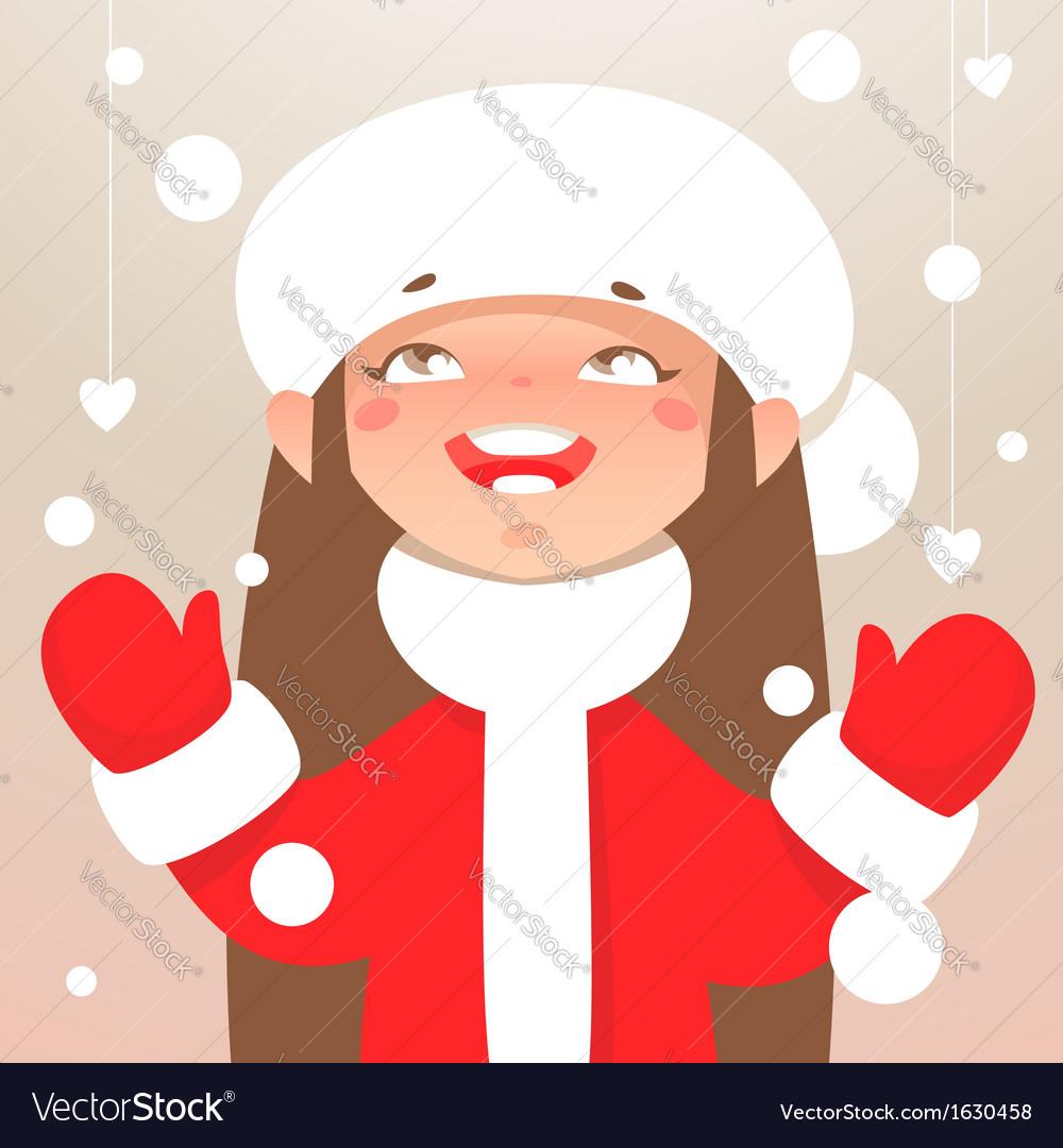 Winter happy girl vector   Price: 1 Credit (USD $1)