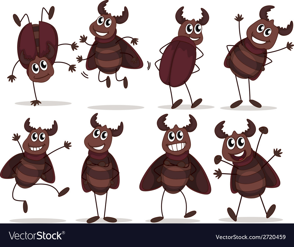A group of smiling bugs vector | Price: 1 Credit (USD $1)