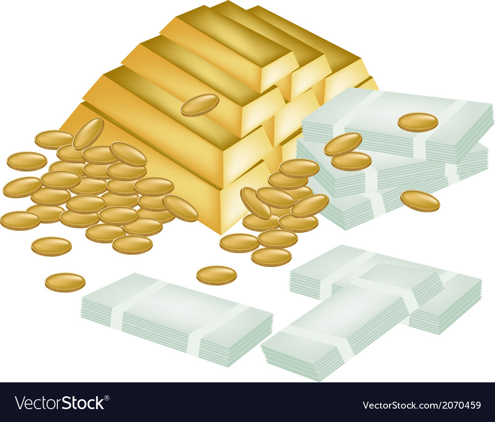 A pile of money coin and gold vector | Price: 1 Credit (USD $1)