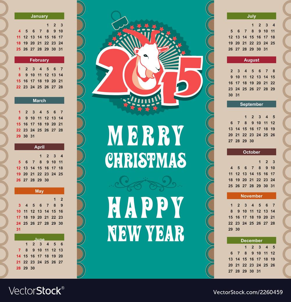 Calendar 2015 vector | Price: 1 Credit (USD $1)